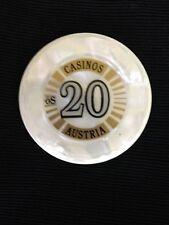 Vintage 20 Shilling Casino Chip Osterreichische Spielbanken, Austria - Mint
