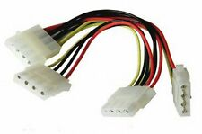 "3 Three Way Molex Splitter Cable PC Power PSU Adaptor Lead 5.25"" 4 pin LP4"