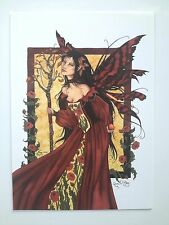 AMY BROWN NEW & MINT FAIRY POSTCARD/MINI ART PRINT QUEEN MAB and Roses Faerie