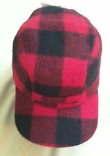 Red Plaid Wool Mackinaw Cap w/ Ear Flaps, Size 6-3/4, Langenberg, NEWMade in USA