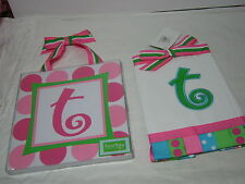"""2 pcs MUDPIE INITIAL """"T """"  Burp Cloth and Wall Hanging ~ Pink, Green and Red NIP"""