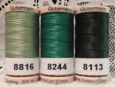 3 Green GUTERMANN 100% cotton hand thread for Quilting 220 yard Spools
