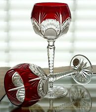 AJKA PEEP CLEANTHE BALLOON WINE GLASS GOBLETS, RUBY RED CASED CRYSTAL