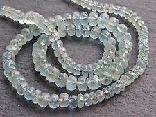 "HAND FACETED MOSS AQUAMARINE RONDELLES, graduated 4.8mm - 6mm, 15"", 120+ beads"