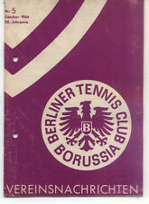 Tennis Borussia Berlin - Vereinsnachrichten - Oktober 1966