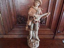 statuette biscuit céramique Royal Dux Bohémia , joueur de mandoline 1900
