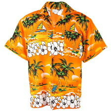 Hawaiian Aloha Shirt Coconut Big Chaba Beach chair Ship Orange XL he244o