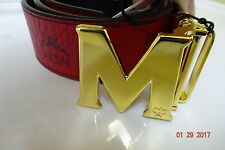 MCM Ruby Red and Black Reversible Belt Gold Buckle Gorgeous