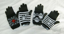 4 pairs of goth emo fingerless gloves. BLACK WHITE Bargain job lot halloween NEW