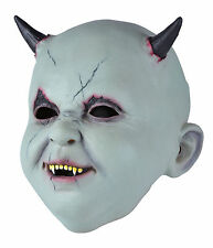 BABY DEVIL MASK LATEX POSSESSED DARK HORNED CREATURE HALLOWEEN PARTY