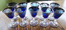 LOT (10) ANTIQUE COBALT BLUE WITH SILVER OVERLAY CORDIAL GLASSES FROM  ITALY