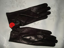 """Beautiful Dark brown 9.5"""" Long Soft Genuine Leather Polyester Lining Gloves 7"""