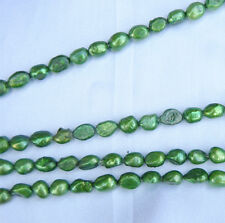 7-8MM Green OVAL Baroque Nuclaeted Freshwater Pearls One Strand 15''
