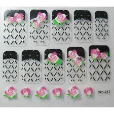 Accessoire ongles : nail art- Stickers autocollants, fleurs roses, résille noire