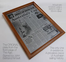 AMERICA'S CUP 1983.  Original plate from front page of The Age. UNIQUE ONE OFF!