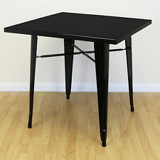 Square Black Gloss Metal Kitchen/Dining/Cafe Table 2/4 Seater Industrial/Vintage