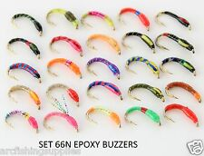 25 mixed EPOXY BUZZERS trout fly fishing flies new FOR reel rod line SET 66N
