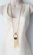 "Gorgeous 32"" long Gold tone & diamante - crystal chain tassel pendant necklace"