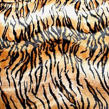 "VELBOA FAUX FUR BROWN TIGER ANIMAL PRINT FABRIC SEWING POLY 60"" SOLD BY THE YARD"