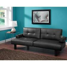 Connectrix Futon Sofa Split Sleeper Leather Convert  Bed Couch Black Lounger