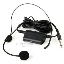 Wireless Lavalier lapel w Over the head headset & Clip Microphone 6.35mm adaptor