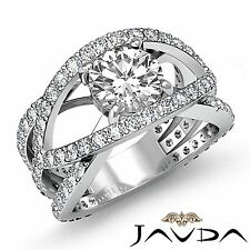 Round Diamond Halo Pre-Set Engagement Ring GIA G Color VS2 18k White Gold 2.7ct