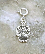 Sterling Silver Sugar Skull Charm fits European and Link Charm Bracelets - 0480