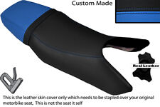 LIGHT BLUE & BLACK CUSTOM FITS HONDA CB1 400 89-90 DUAL LEATHER SEAT COVER