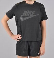 BNWT Women's Nike Perforated Graphic Leather Look T-Shirt Black Top Sz M