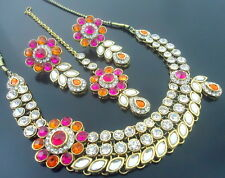 TRADITIONAL ORANGE PINK KUNDAN GOLD TONE NECKLACE SET BOLLYWOOD PARTY JEWELRY