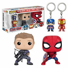 Funko POP! Marvel ~ CIVIL WAR 4-PACK ~ Spider-Man, Hawkeye, Iron Man, Cap