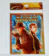 NEW INDIANA JONES    8- INVITATIONS   WITH ENVELOPES    PARTY  SUPPLIES