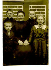 Pretty Mom-Mother w/ Children-Daughter-Sons-RPPC-Vintage Real Photo Postcard