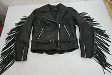 AUTHENTIC HARLEY DAVIDSON FRINGED DISTRESSED LEATHER MOTORCYCLE JACKET WOMENS 36