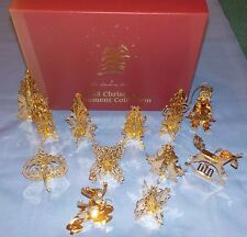 Danbury Mint 1983 Gold Christmas Ornament Collection Set Of 12 Box