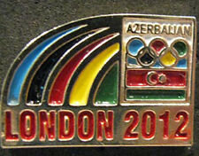 LONDON 2012 Olympic AZERBAIJAN NOC logo Internal team delegation dated pin