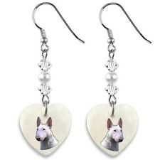 English Bull Terrier 925 Sterling Silver Heart Mother Of Pearl Earrings EP278