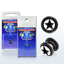 Fake Illusion Fake Piercing Magnetic Star Black/White Ear Pair Ear Gauge Plug US