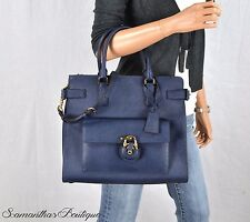NWT MICHAEL KORS EMMA NAVY BLUE LEATHER TOTE SATCHEL SHOULDER BAG HANDBAG PURSE