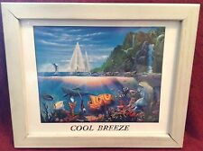 Cool Breeze Tropical Ocean Fish and Dolphin Wall Picture Black Framed Art Print