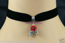 Goth Black Velvet Choker Necklace Red Rose Gun Pendant Rock Cult Retro UK
