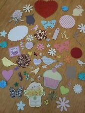 Mixed Lot 50 Everyday Cut Outs Paper & Card Flowers, Hearts, Stars, Butterflies