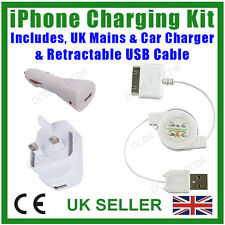 iPhone Travel Charging Kit, Retractable USB Cable, Mains & Car Charger, 3, 4, 4S