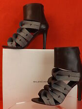 NIB BALENCIAGA ORIGAMI TWO TONE BOWS LEATHER BACK ZIP ANKLE BOOTS PUMPS 38 $1K