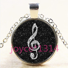 Black musical note Cabochon Tibetan silver Glass Chain Pendant Necklace #3877