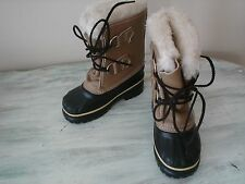 Sorel Ram Camel Brown Leather Rubber Duck Boots Childrens Size 6 EUC