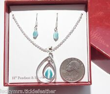 Necklace/Pierced Earring Set, Baby Blue Cat's Eye Glass, Oval & Teardrop, ST NEW