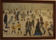 "Aft. L.S Lowry ""The Cripples"" Large Naive Oil Painting. Northern School"