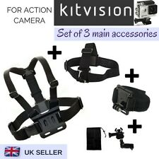 Set of 3 Chest Head Wrist Strap for Kitvision Escape 4KW HD5W HD5 Action Camera