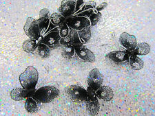 "24 Wire Glitter 1"" Mesh Butterfly Craft Decoration/Corsage/Flower L8-Small-Black"